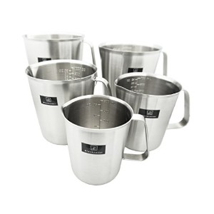 Blackcover Measuring Cup、厚み付けステンレススチール測定ビーカー/ Steaming Frothing Pitcher withハンドルforベイク 16oz(500ml)...