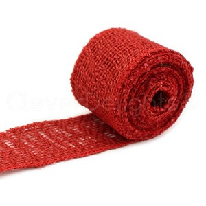 CleverDelights 2 Burlap Ribbon - Finished Edge - 10 Yards - Red Color - Jute Burlap Craft Fabric by...