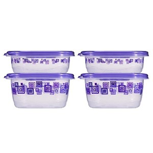 Glad Matchware Food Storage Containers Purple Square Variety Pack, 4 Count (Pack of 4)
