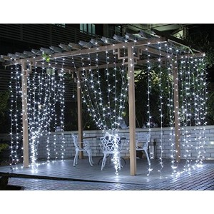 Curtain Lights, SurLight 9.8ft*9.8ft 304LEDs Window Icicle Lights with 8 Lighting Modes, Linkable...