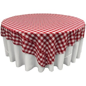LA Linen Poly Checkered Square Tablecloth, 90 by 90-Inch, Red/White by LA Linen