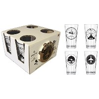 Corkology.com 445-1 Aviation Clusters Pint Pack with Matching Coaster Set, Clear by Corkology.com