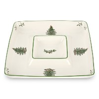 Spode Christmas Tree Square Chip and Dip by Spode