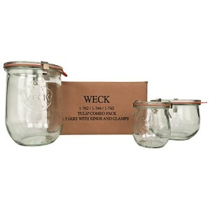 Weck Tulip Jar Combo Pack- (1) 762, (1) 744, (1) 745, (3) glass lids, (3) rubber rings and (6)...