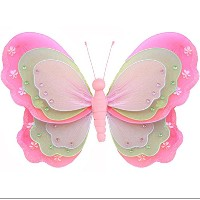 Hanging Butterfly 7 Small Dark Pink Fuchsia Green Pink Triple Layered Mesh Nylon Butterflies...