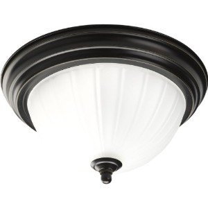 Progress Lighting p3816–20-軽量close-to-ceiling with Etchedリブ編みガラス、アンティークブロンズ