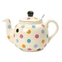 Globe London Pottery 2 Cup Multi Colored Spots onアイボリーフィルタティーポット17272190