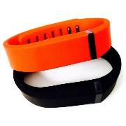 ! Small S 1pc Black 1pc Red (Tangerine) Replacement Bands + 1pc Free Small Grey Band With Clasp for Fitbit FLEX Only /No tracker/ Wireless Activity Bracelet...
