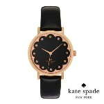 ケイトスペード Kate Spade 腕時計 Metro metro scallop dial leather strap watch 34mm (Black/RoseGold) メトロ スカロップ レザー...