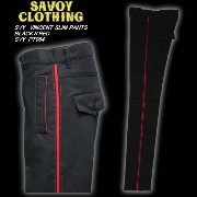 SAVOY CLOTHINGサヴォイクロージング◆SVY VINCENT SLIM PANTS◆◆BLACK×REDSVY-PT064