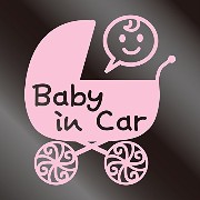 nc-smile Baby in car ステッカー ベビーカー Baby carriage (サーモンピンク)