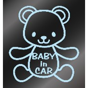 nc-smile BABY IN CAR ステッカー クマ(ミルキーブルー)