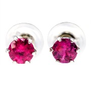 nadi PT900 非加熱ルビー 0.3ct スタッド ピアス プラチナ 900 Platinum 0.3ct No Heated Ruby with Certificate stud earrings 【ソーテ...