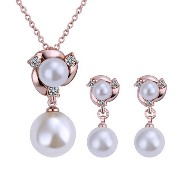 Tangda 18k Gold Pearl Necklace and Earringネックレスとピアス3点セット 18kピアス ネックレス レディース 人気 ネックレス レディース