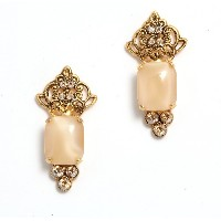 Amaro Jewelry Studio 'Illumination' Collection 24K Yellow Gold Plated Dangle Earrings Adorned with Fancy Ornament, Rectangle Shaped Aragonite and Swarovski...