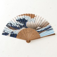 布貼扇子 沖波裏 Cloth stuck fan
