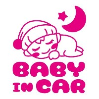 Sticker Shop Haru BABY IN CARステッカー すやすやベビー ピンク