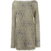 Mes Demoiselles lace print long sleeve shift dress