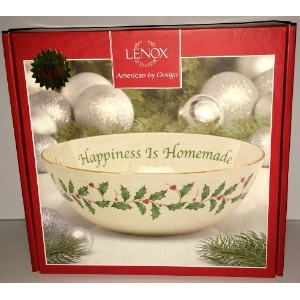 "Lenox Holiday "" Happiness is Homemade "" Serving Bowl 2 Quart ( 9インチ)"