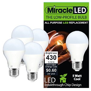Miracle LED 604714低プロファイルGeneral Purpose LED電球with Mediumベース(パックof 4 ) ,クールホワイト