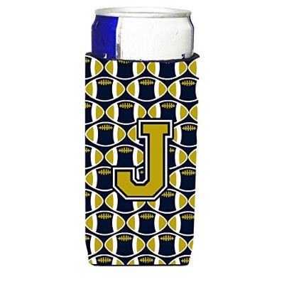 文字J FootballブルーandゴールドUltra Beverage Insulators forスリム缶cj1074-jmuk