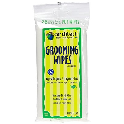 EARTHBATH All Natural Hypo-Allergenic Grooming Wipes, 28ct Travel Dogs Cats Pets