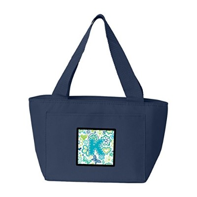 Caroline's Treasures CJ2006-KNA-8808 Letter K Flowers and Butterflies Teal Blue Insulated Lunch Bag...