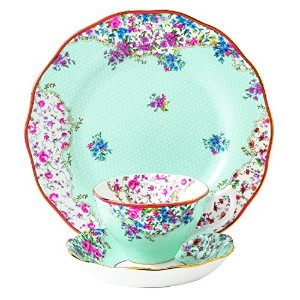 Royal Albert Candy 3 Piece Teacup Saucer and Plate Set, 8, Sitting Pretty by Royal Albert