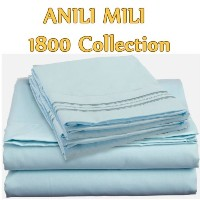 Anili Mili 4-Piece 1800 Collection Affordable Bed Sheet Set, Queen, Aqua by Anili Mili
