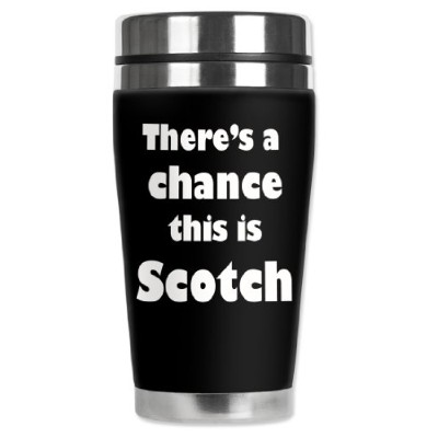 Mugzie brand 470ml Travel Mug with Insulated Wetsuit Cover - Might be Scotch