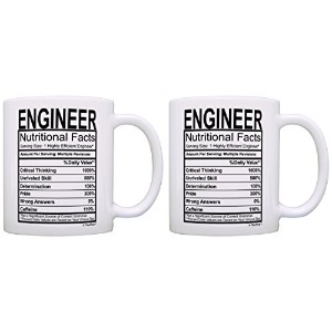 (2, White) - STEM Gifts Engineer Nutritional Facts Label Science Gag Gift 2 Pack Gift Coffee Mugs...