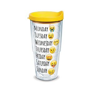 Tervis絵文字Days of the WeekラップクリアInner Tumbler withイエロー蓋、24オンス