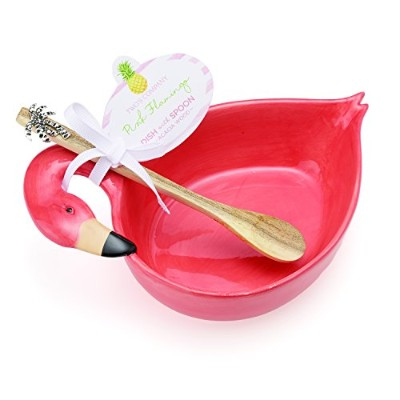 Twos Company Flamingo Dish with Wooden Spoon. by Amersham Designs