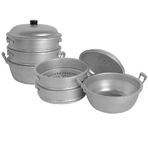 BIG HOLE STEAMERS W/ BOTTOM & LID HOLE SIZE 3/8 ALUMINUM STEAMERS ASIAN COOKWARE RESTAURANT (28 cm...