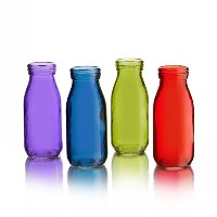 Style Setter Gems Colored Glass Bottles (Set of 4), Multicolor by Style Setter