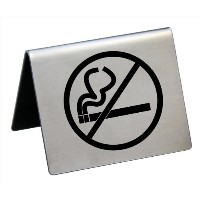 New Star Foodservice 26849 Stainless Steel No Smoking Tent Sign, 2 by 1.5-Inch, Silver, Set of 6 ...