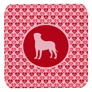 "Caroline 's Treasures sdk1076-a-fc Bullmastiff Valentine Hearts Foam Coasters ( Set of 4 )、3.5 "" H..."