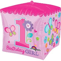Anagram International Sweet Girl 1st Birthday Cubezバルーン、15インチ、マルチカラー