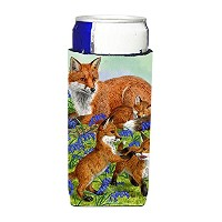 Caroline 's Treasures Fox Family Michelob Ultra Koozies forスリム缶、マルチカラー