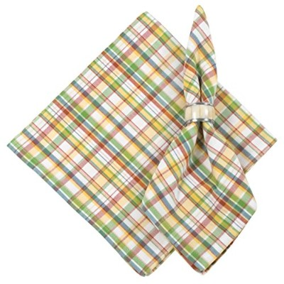 100% Cottom Coral Green & Yellow Plaid 60cm x 60cm Napkin, Set of 6 - Haystack