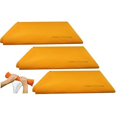 3pk Original German Shammy Towels Super Absorbent Chamois Cloths Large Size 20x27 Inch For Home...