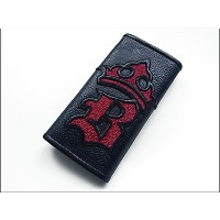 【B.W.L. ビルウォールレザー】ロングウォレット/W921 Initial Crown Wallet・RED Stingray(WAVE Snap Button)