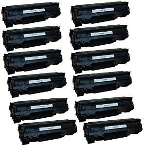 Canon Toner- Canon 125 (3484B001AA) Remanufactured ブラック Laser Toner Cartridge (CE285A) -12PK ...