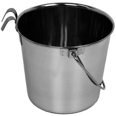 Advance Pet Products Heavy Stainless Steel Flat Side Bucket with Hook, 2-Quart by Advance Pet...