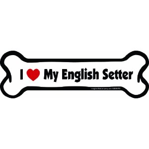 Imagine This Bone Car Magnet, I Love My English Setter, 2-Inch by 7-Inch by Imagine This