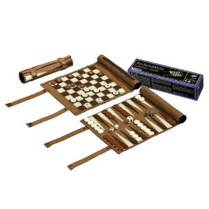 Philos Travel Chess Backgammon Checkers Set Synthetic Leather チェス/バックギャモン/チェッカー 2801