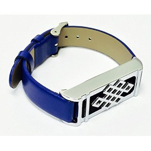 BSI Blue Leather Replacement Bracelet With New Unique Design Silver Metal Housing For Fitbit Flex...