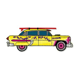 Yellow Car with Surfboard Patch