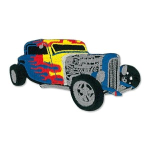 Blue Hot Rod with Flames Patch