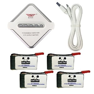 ZZRC Toys 3.7V 750mAh Lipo バッテリーと 4in1充電器セット バッテリー For Holy Stone X300C X400C mjx x300 x400 過充...